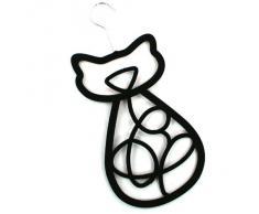 Black Ginger Cintre porte-foulard/ceinture/cravate/châle en forme de chat à suspendre dans la garde-robe Noir