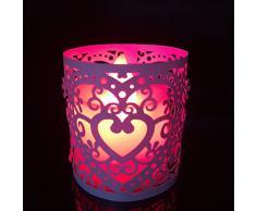 Lot de 6pcs Abat-jour de Bougie à LED Motif Coeur Ajouré Décoration pour Noël Mariage (Rose)