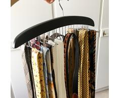 Homfa Porte-Cravate Cravate Rack de Rangement avec Crochet en Acier Inoxydable en Bois Noir 42 ×17 ×1.6 cm (1)