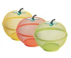 Excelsa Apple Corbeille à Fruits en Acier 26,5 x 26,5 x 27 cm, Rouge