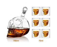 Amzdeal Bouteille à Vin 700ml avec 6 Verres à Vin 75ml en Forme de Crâne Carafe de Vodka /Whisky en verre cristal transparent
