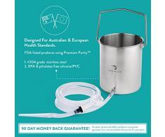 Kit Seau De Lavement En Acier Inoxydable d'Aussie Health Co. 2.0 Litres. Sans Phthalates Et BPA. Lavement Réutilisable, Eau Pour Désintoxication Du Côlon A La Maison.