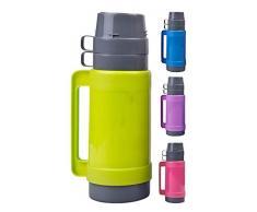 Thermos 1 L avec 2 tasses & Boîte à Sucre avec insert en verre, vert, bleu, rose ou violet vert