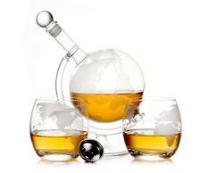 casa-vetro GLOBUS Lot de 2 bocaux à Whisky 750 ML et Verre, Weiß, Globus Glas Set Carafe à liqueur de schnaps au vin de whisky
