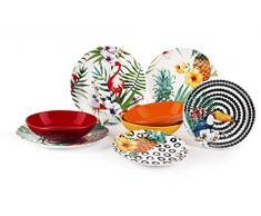 Excelsa Tropical Chic Service Table, Porcelaine, multicolore, 18 unités