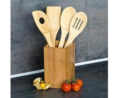Relaxdays Accessoires de cuisine Set de 4 ustensiles de cuisine lot de pièces cuillères en bois de bambou cuillère Spatule avec un support carré Réceptable, nature