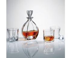 Bohemia Crystal Coffret carafe à décanter le whisky Spitits assorti de 6 Gobelets-Bleu Lagon