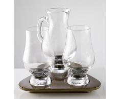 Stölzle The Glencairn Coffret dégustation whisky avec 2 verres, une carafe et un plateau de service en bois élégant