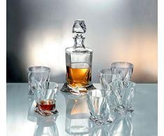 Bohemia Crystal Service Whisky 7 - Pièces : 1 carafe + 6 verres Quadro