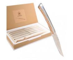 LAGUIOLE - Coffret de 6 Couteaux de Table Design - Acier Inoxydable, Bois Zèbre