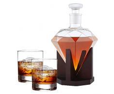 AMAVEL Set de Dégustation avec Carafe Diamant et 2 Verres à Whisky, Gravure Personnalisée du Nom et de la Date, 1000 ML