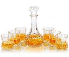 KANARS 7 Pièces Carafe Whisky, 600ml Bouteille avec 6x 300ml Verre à Whiskey, Décanter Cristal, Belle Boîte Cadea
