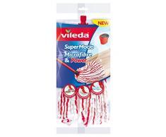 Vileda – Super Mocio Microfibre et Power - Recharge/Tête de Balai Serpillère à Franges (sans le manche) - Ultra absorbant et dégraissant - Fibres rouges et blanches
