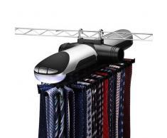 LHY SAVE Porte-Cravates Électrique Cravate Cintre Rack,avec Éclairage,Tourner Automatique Cravates Butler,Noir/Argent