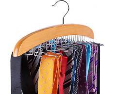 Ohuhu Cintre Porte-Cravates Classique en Bois à 24 Crochets, Crochet de Cravate en Bois, Choix pour Votre Organisateur de Placard
