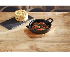 Artesà avec induction Mini plat de service en fonte avec planche de bois, sûr,16.5 x 12 x 3 CM
