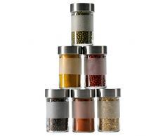 IKEA dROPPaR set de 10 pot à épices en verre et acier inoxydable