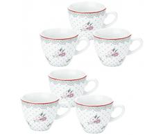 Novastyl - 7039190 - Windsor - Tasses à Thé Rose/Gris - Lot de 6