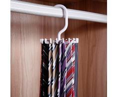 iSuperb® 2 Pièces Porte-cravate pivotant Porte-cravate Organisateur Porte-crochet Rangement de placard Blanc et noir avec boîte cadeau (2 Paquet de Tie Rack)