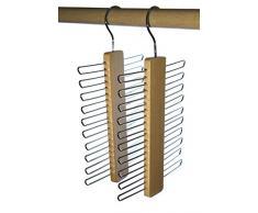 Cintre Porte-Cravates - Bois de Hêtre - 20 Cravates, 2 Pièces
