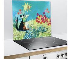 WENKO 2712911500 Plaque multi Rosina Wachtmeister - pour plaques de cuisson vitrocéramiques, planche à découper, Verre trempé, 50 x 0.5 x 56 cm, Multicolore