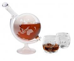 slkfactory Carafe à Whisky 750 ML et 2 Verres de 350 ML de Carafe en Verre avec Bouteille de 0,75 l