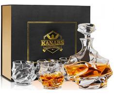 KANARS Carafe à Whisky, 750ml Bouteille avec 4X 320ml Verre à Whiskey, Décanter Cristal, Belle Boîte Cadea, Lot de 5 Pièces