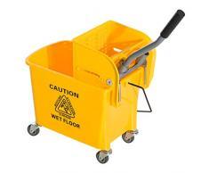Chariot de nettoyage lavage seau de ménage 20 L avec essoreur et séparateur eau sale propre jaune 63 x 27 x 67 cm neuf 02