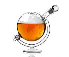 LIGHT Globe en Verre à Whisky Carafe avec Bouchon et Cradle, du Monde Vintage Design Carafe à Whisky Idéal pour Rum, Brandy et Liqueur de Flux coupelles à Bords