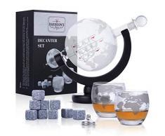 Ensemble Harrisons Finest - Avec carafe à whisky de 850 ml, bouchon en verre et 2 verres gravés - Motif de planète terre - Entonnoir en acier inoxydable - 9 pierres à whisky