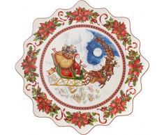 Villeroy & Boch 14-8332-2246 Grande Assiette à Pâtisserie Toy's Fantasy Motif Vol Du Père Noël/Arts de la Table de Noël Porcelaine Blanc bunt 44,5 x 45,5 x 7 cm