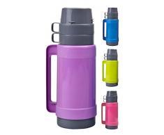 Thermos 1 L avec 2 tasses & Boîte à Sucre avec insert en verre, vert, bleu, rose ou violet lilas