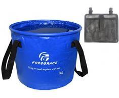 Seau pliant et compact supérieur par Freegrace – Réservoir à eau pliable et portatif – léger et durable – Offert en plusieurs couleurs et grandeurs (Bleu Marin, 16L)