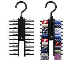 Black Tie Ceinture rack Organisateur cravate Porte Cintres robuste Rotation pour ouvrir/fermer cravates et ceintures Hanger 2 PCS
