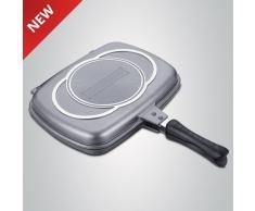 Double plaque induction faitout Grille Revêtement Effet Pierre anti-adhésif Multi-usage pour barbecue Viande Poisson œufs et tellement autre 34 cm mod rl-df34 m