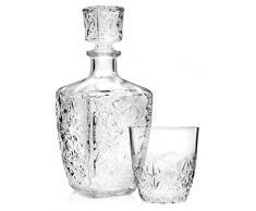 Bormioli Dedalo Lot de 6 verres à whisky de 260 ml et 1 carafe de 0,78 l, élégant service à whisky de haute qualité