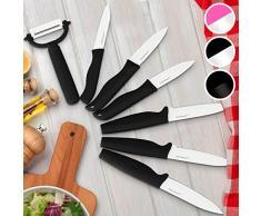 Jago Set de 7 Couteaux - avec Revêtement Céramique, Couleurs au Choix - Couteaux de Chef, Couteau de Cuisine, Couteau de Coupe