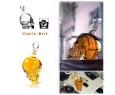 Amzdeal® Bouteille alcool 320ml Skull Head avec 6 Verres à Vin 75ml Forme de Crâne Carafe de Vodka /Whisky en verre cristal transparent