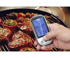niceEshop(TM) Thermomètre de Barbecue sans Fil d'Affichage Numérique avec Minuteur et Sonde pour la Cuisson, la Cuisine et le Four (Argent et Blanc)