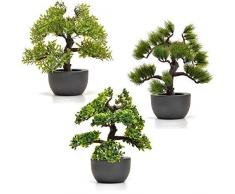 3x Bonsaï Artificiel en Pot 30cm Fleurs Artificielles Bonsai Plante Artificielle