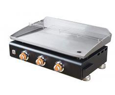 BRASERO – Plancha Silvia II G Noir 3 Feux Surface Cuisson 67 x 34 cm – 3 brûleurs – Plaque INOX – Grille de réchauffement – Piezo intégré – Tiroir Graisse – Jusquà 8/10 convives – 7,5 KW