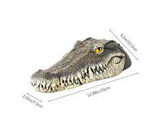 MOGOI Leurre d'eau Flottant en Crocodile, Leurre Tête D'alligator Flottant De 13 Pouces avec Yeux Réfléchissants pour Piscine, étang, Jardin Et Patio, 33x15,5x7,5cm