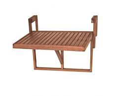 Harms Table Suspendue pour Balcon 100% FSC Eucalyptus huilé mobilier extérieur réglable en Hauteur Profondeur 985089