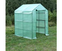 Songmics Serre de jardin tente cadre métal avec housse PE plastique 143 x 143 x 155/195 cm GWP12L