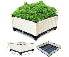 Malayas Potager en Carré 40 x 40 x 23cm Jardiniere de Balcon Bac à Plantes Résistant aux Intempéries pour Cultiver Légumes Fruits Fleurs Herbes Blanche