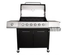 Charles Bentley - Barbecue à gaz à roulettes avec 7 brûleurs (dont 1 latéral) - acier - Noir