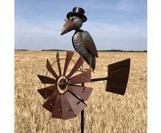 chemin_de_campagne Éolienne Girouette Tuteur Porte Plante Corbeau Coloré 156 cm