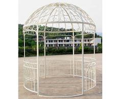 Grande Tonnelle Kiosque de Jardin Pergola Abris Rond Gloriette en Fer Forgé Blanc 250x250x290cm