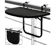 Table de balcon tablette suspendue ajustable en hauteur - rabattable polyrotin noir
