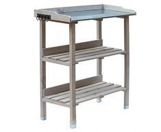 RM Design Table de plantation en bois avec plateau en métal et 2 étagères, résistante, pour jardin, balcon, terrasse, 76 x 38 x 91 cm 76 x 38 x 91 cm gris